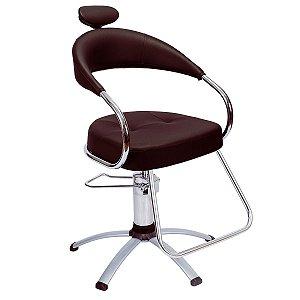 Cadeira Futura Hidráulica Alumínio Para Salão Cabeleireiro, Marrom Tabaco - Dompel