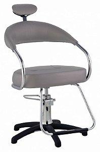 Cadeira Futura Hidráulica Para Salão Cabeleireiro, Prata - Dompel