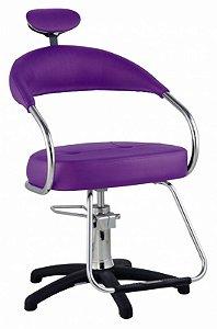 Cadeira Futura Hidráulica Para Salão Cabeleireiro, Roxa - Dompel