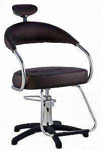 Cadeira Futura Hidráulica Para Salão Cabeleireiro, Marrom Tabaco - Dompel