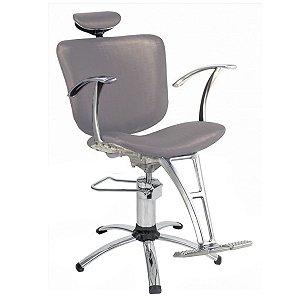 Cadeira Lúmia Hidráulica Reclinável Para Salão Maquiagem Cabeleireiro, Prata - Dompel