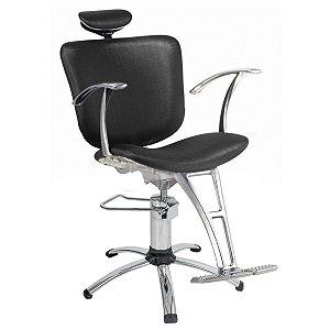 Cadeira Lúmia Hidráulica Reclinável Para Salão Maquiagem Cabeleireiro, Preta - Dompel