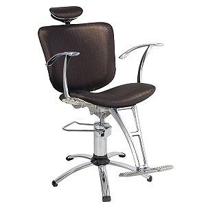 Cadeira Lúmia Hidráulica Reclinável Para Salão Maquiagem Cabeleireiro, Marrom Tabaco - Dompel