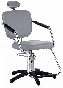 Cadeira Nix Hidráulica Para Salão Cabeleireiro, Prata - Dompel