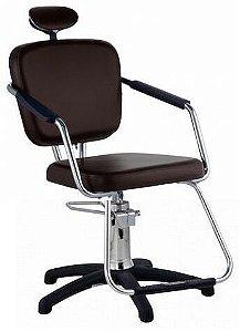 Cadeira Nix Hidráulica Para Salão Cabeleireiro, Marrom Tabaco - Dompel