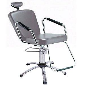 Cadeira Reclinável para Barbeiro e Maquiagem, Prata - Nix Dompel