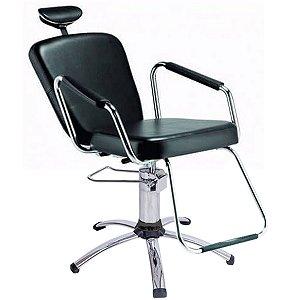 Cadeira Reclinável para Barbeiro e Maquiagem, Preta - Nix Dompel