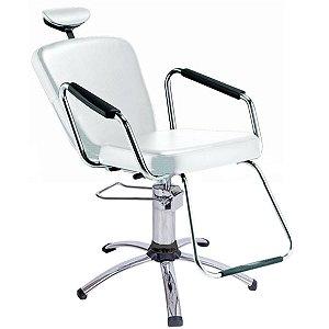 Cadeira Reclinável Alumínio para Barbeiro e Maquiagem, Branca - Nix Dompel
