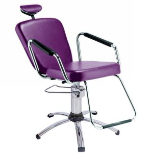 Cadeira Reclinável para Barbeiro e Maquiagem, Roxa - Nix Dompel