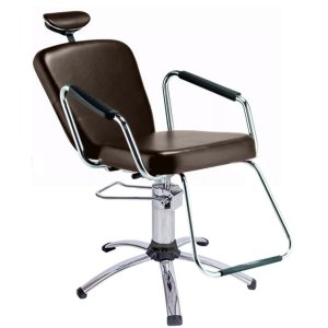 Cadeira Reclinável Alumínio para Barbeiro e Maquiagem, Marrom Tabaco - Nix Dompel