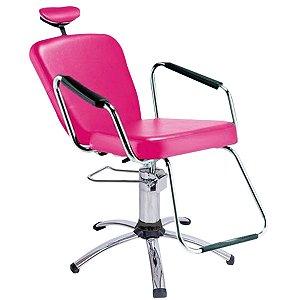 Cadeira Reclinável Alumínio para Barbeiro e Maquiagem, Rosa - Nix Dompel
