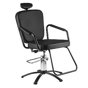 Cadeira Nix Hidráulica Reclinável para Barbeiro e Maquiagem, Preta - Dompel