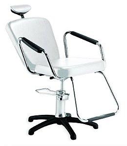 Cadeira Nix Hidráulica Reclinável para Barbeiro e Maquiagem, Branca - Dompel