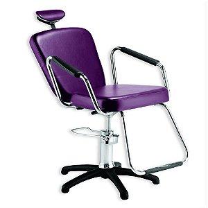 Cadeira Nix Hidráulica Reclinável para Barbeiro e Maquiagem, Roxa - Dompel