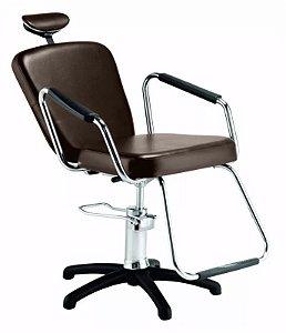 Cadeira Nix Hidráulica Reclinável para Barbeiro e Maquiagem, Marrom Tabaco - Dompel