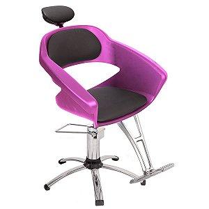 Cadeira Primma Hidráulica Alumínio Para Salão Cabeleireiro Rosa - Dompel