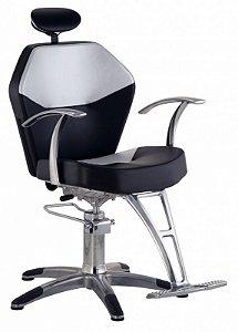 Cadeira Romana Hidráulica Reclinável para Barbeiro Barbearia, Preto com Branco - Dompel