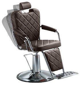 Cadeira de Barbeiro Reclinável e Hidráulica, Marrom Tabaco - Texas Wood Dompel