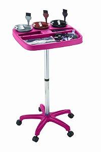 Carrinho Auxiliar Cabeleireiro Multicolor para Coloração Tintura, Rosa - Dompel