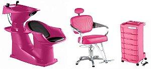 Kit Lavatório Cadeira Carrinho - Salão Rosa Completo Dompel