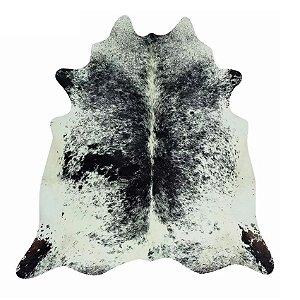 Tapete Pele Couro de Boi 100% Natural - Preto e Branco Salpicado