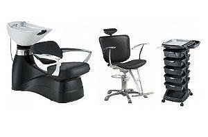 Kit Cabeleireiro Clarice : Cadeira, Lavatório, Carrinho Auxiliar - PRETO