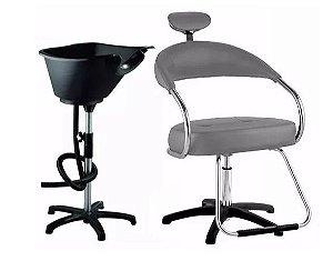 Kit Salão Cabeleireiro Básico: Cadeira + Lavatório CINZA