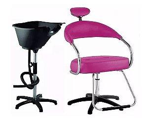 Kit Salão Cabeleireiro Básico: Cadeira + Lavatório ROSA