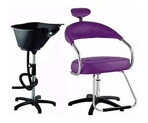Kit Salão Cabeleireiro Básico: Cadeira + Lavatório ROXO