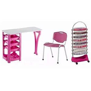 Kit Manicure Completo Mesa Cadeira e Carrinho Auxiliar Rosa Dompel