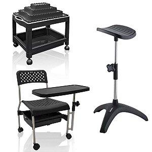 Kit Manicure Básico: Cadeira Cirandinha, Tripé, Carrinho - PRETO