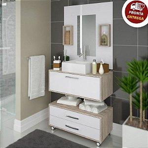 Gabinete Banheiro Completo 80cm Balcão Painel Cuba - Sem espelho