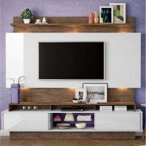 Estante Home P/ Tv Até 55 Polegadas C/ Led 2 Portas De Correr - Cor Off White Freijo