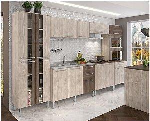 Cozinha Completa Modulada Lia 14 portas e 4 Gavetas - Elmo/Smocked