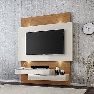 Painel Home MDF Para Tv Até 55' 2 Gavetas Led Tb120L - Off White Freijó