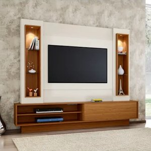 Painel/Home P/ Tv Com Led TB129L - Off White/freijó