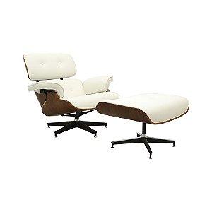 Poltrona Charles Eames Com Puff Apoio De Pés Couro Branco