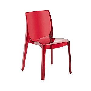 Cadeira Femme Fatale Policarbonato Vermelho Translúcido