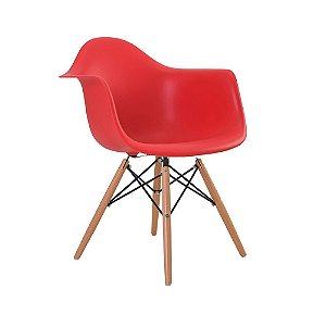 Cadeira Eiffel Assento Polipropileno Vermelho Pés De Madeira