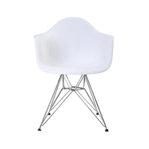 Cadeira Eiffel Assento Polipropileno Branco Pés Cromados