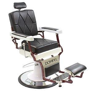 Poltrona Cadeira De Barbeiro Reclinável Harley Profissional Dompel - Preto Branco