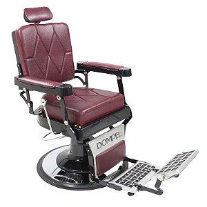 Poltrona Cadeira De Barbeiro Reclinável Harley Profissional Dompel - Vermelha