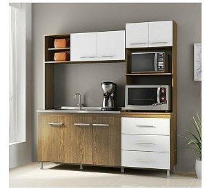 Cozinha Compacta Carol Soluzione,7 Portas e 3 Gaveta-Avelã/Branco