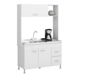 Cozinha Compacta Dani Soluzione,3 Portas e 2 Gaveta - Branca