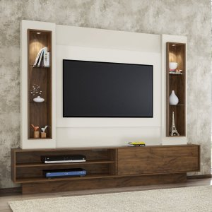 Painel/Estante p/ TV com LED MDF TB129L - Nobre/Off White