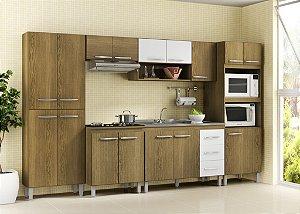Cozinha Compacta Completa Priscila Soluzione - Avelã/Branco