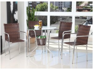 Conjunto de Mesa Alumínio Fibra P/ Jardim Área Externa C/ 4 Cadeiras