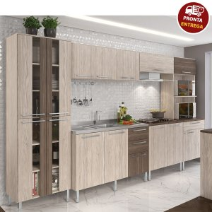Cozinha Completa Modulada Lia 14 Portas - Arte Cass Elmo/Carvalho