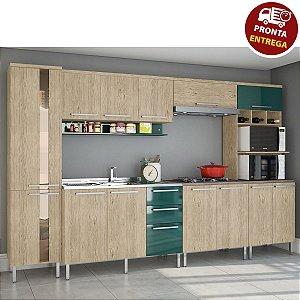 Cozinha Completa Modulada 6 Peças – Carvalho/Verde Arte Cass