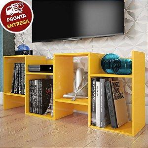 Estante/Rack Baixa Nicho Prateleira Amarela P/ Livros Sala Escritório